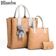DIINOVIVO Women Bags Set 3 Pcs Leather Handbag Casual Tote Ladies Messenger Bag Card Female Shoulder WHDV1242