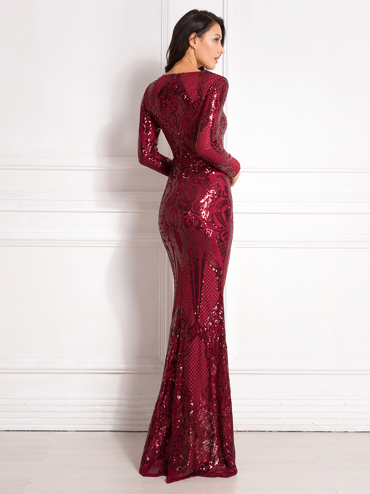 Sequined Maxi Dress Full Sleeved O Neck Stretchy Autumn Winter Long Evening Party Dress 12