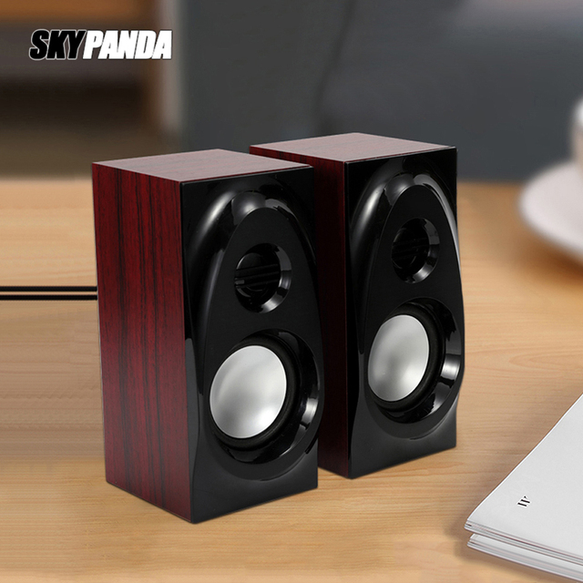 Wooden Desktop Speakers 3.5mm AUX Input USB Power Computer Speakers for Laptop Desktop Phone Audio Loudspeaker 1