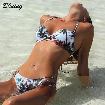 Bkning, Bikinis Push Up, Bikini de palmera con tiras, bañador para mujer, bañador ajustado, Bañador estampado, Bikini Retro 2020