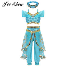 Kids Girls Princess Glittery Sequins Rhinestone Costume Outfit Halloween Cosplay Party Dress Up Off Shoulder Crop Top with Pants(China)