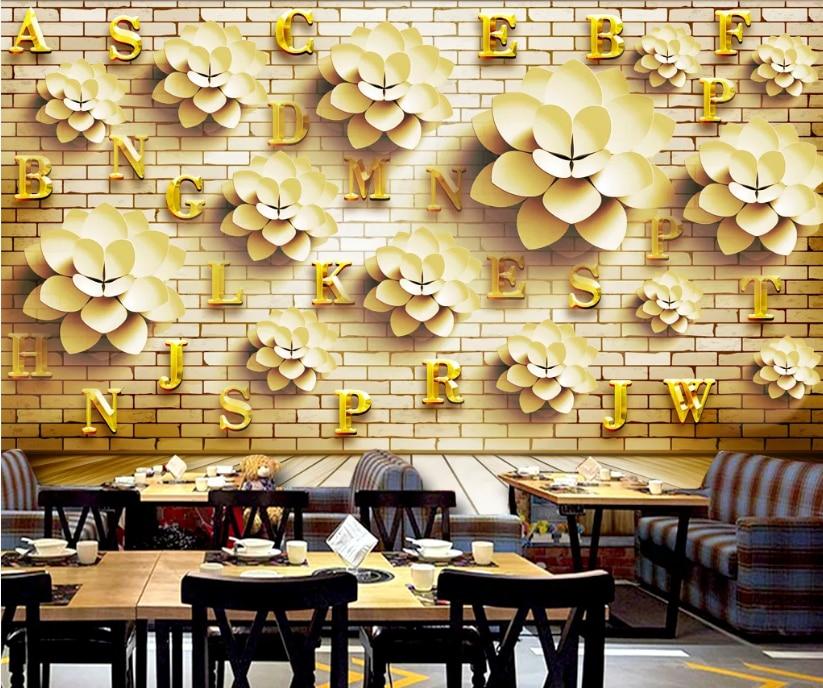 Custom Golden Floral Letter Tooling Background Wallpaper Mural