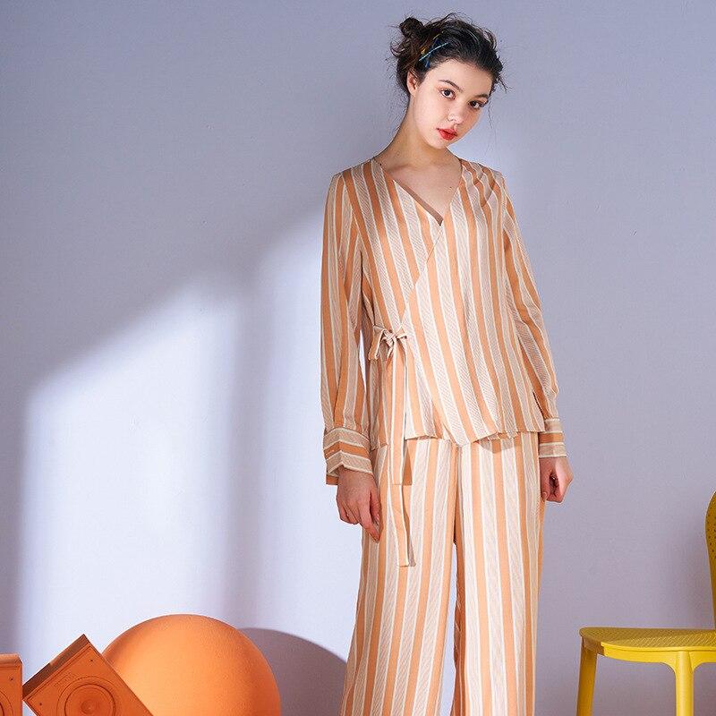 S009 Spring pajamas ladies V-neck long-sleeved thin wide-leg pants loose autumn set homewear sleepwear