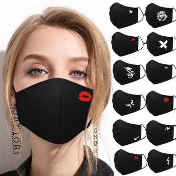 mascarillas Dustproof Mouth Mask Heart Print Cotton Face Mouth Mask Cartoon Face Reusable Fabric Anti Pollution Mask Party Mask image