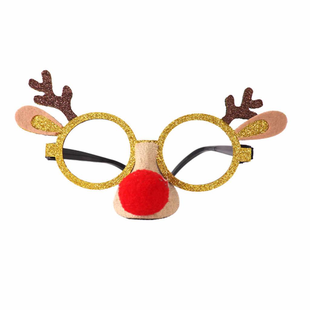 Gafas de fiesta para navidad forma de alce adultos niños regalos favores navidad decoración juguete navidad colgante productos Oro/rojo/Rosa navidad F930