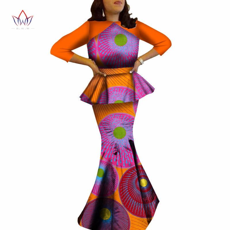 2019 été Femme africaine haut et jupe ensemble imprimer Dashiki cire Robe Longue Femme soirée tissu grande taille jupe ensemble BRW WY505