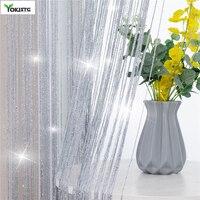 YokiSTG-cortina a rayas con borla brillante para sala de estar, divisor de dormitorio, cenefa de puerta, decoración del hogar, líneas de cortinas, 300x260cm