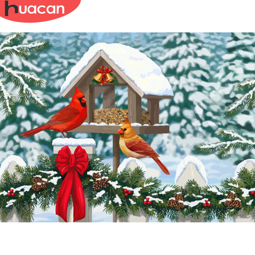 HUACAN Coloring By Numbers Snow Bird Animals HandPainted Kits Drawing Canvas Pictures Winter Christmas DIY Oil Painting Gift
