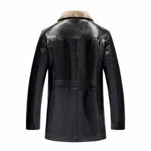 Image 2 - Winter Fur Leather Jacket Mens Plus Size 5XL Suede Leather Jackets Men Faux Fur Thick Warm Long Suede Jacket