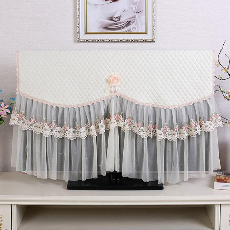 TV Dust Covers Household Decor Hanging Wall Mounted LCD TV Covers Flower Lace Dustproof Television Covers