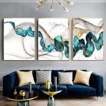 Green Drifting Flying Abstract Wall Art Picture Canvas Painting Poster Print Decor Wall Art Pictures Living Room Decoration