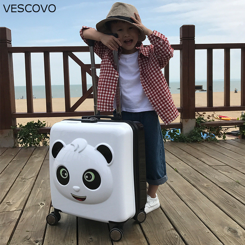 VESCOVO 20 Inch Cartoon Children Trolley Case Small Panda Pattern Travel Suitcase Cute Boarding  Password Luggage For Kids