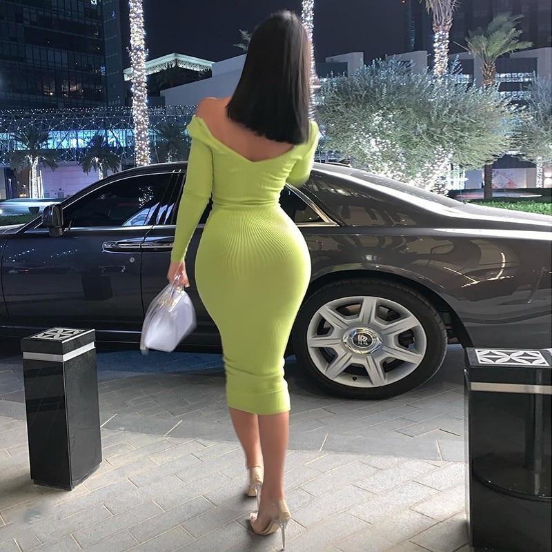 Sexy hanche élégant col en V longue robe femmes dos nu maigre décontracté robe moulante rose haute Wasit Club robe de soirée automne 2019