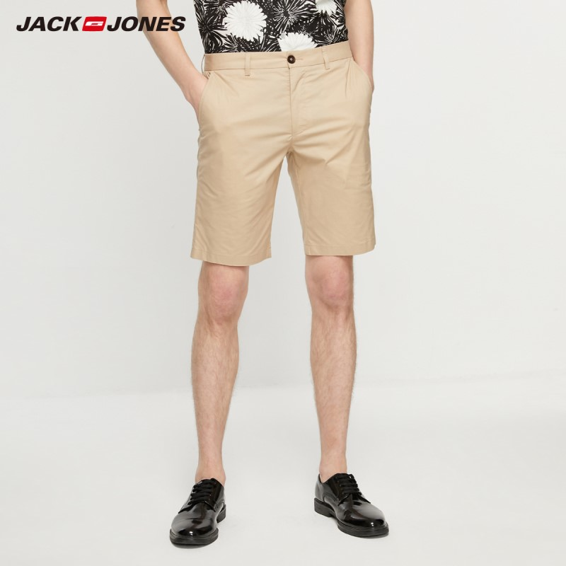 JackJones Men's Straight Fit Stretch Cotton Pure Color Knee-high Shorts Style| 219215514
