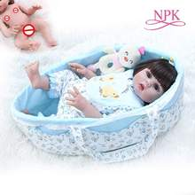 48CM lifelike doll reborn baby full body soft silicone flexible cuddly carrying bag sleeping basket newborn