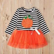 Girl Halloween Clothes Toddler Baby Kids Girls Pumpkin Striped Tulle Patchwork Casual Dresses