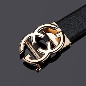 Image 5 - WilliamPolo Cinturón de cuero de grano completo para hombre, cinturones de cuero genuino de alta calidad para hombre, correa de Metal con hebilla automática