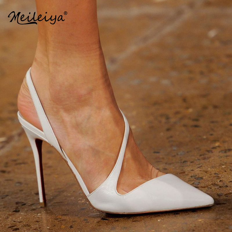 Shoes Women Wedding-Pumps Runway High-Heeled Pointed White Slingback Fashion Ladies Shallow