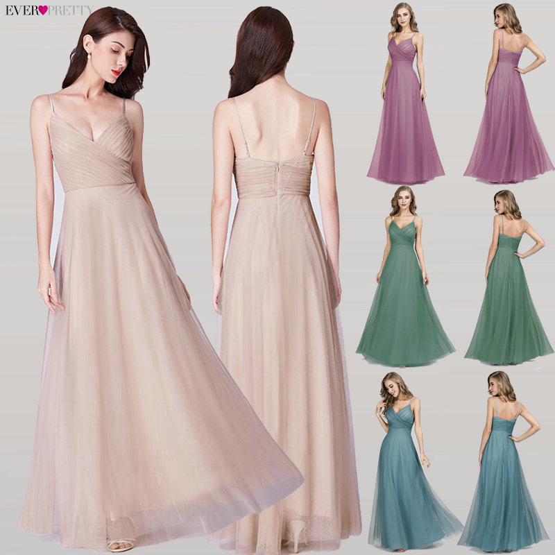 Elegant Prom Dresses Long Ever Pretty EP07369 A-Line V-Neck Chiffon Cheap Women Formal Bride Evening Gowns for Wedding Party