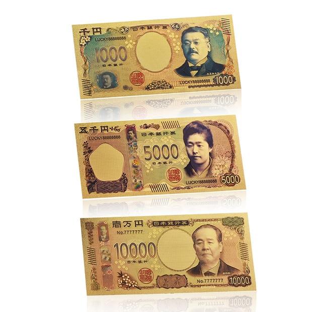 Atacado 5 pçs/lote Japonês Falso Dinheiro de Papel de Notas de Ouro com COA Japão Frame Bilhete de Nota de Banco Dom Item Dropshipping