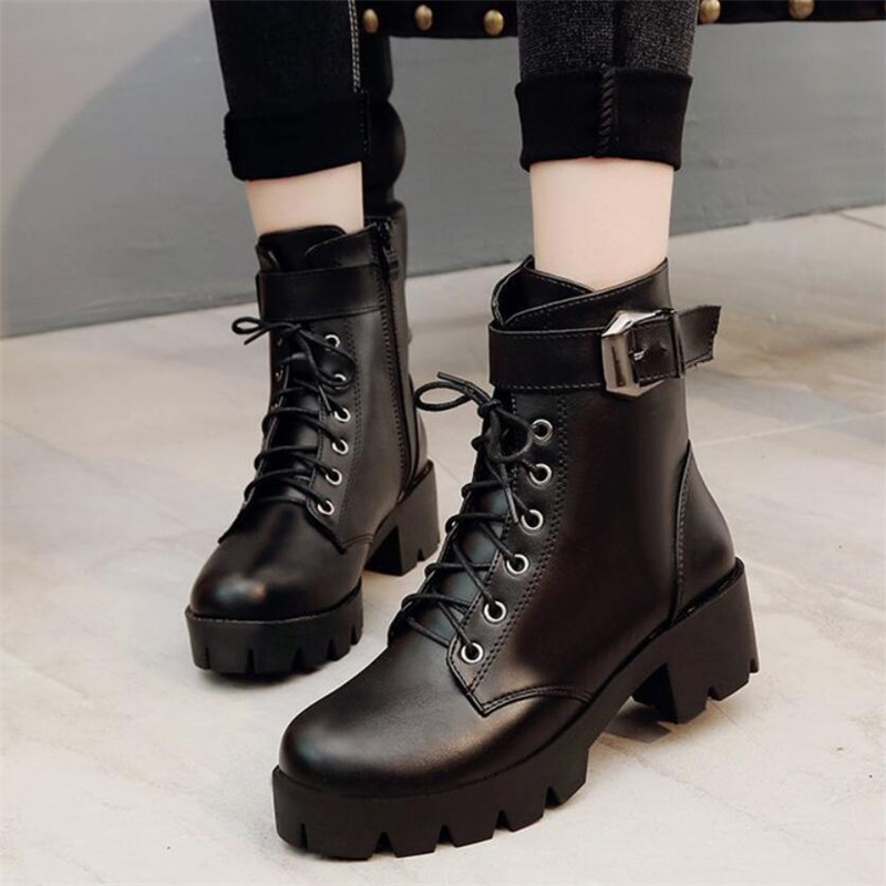 Black Lace Up Boots Women Square Heel