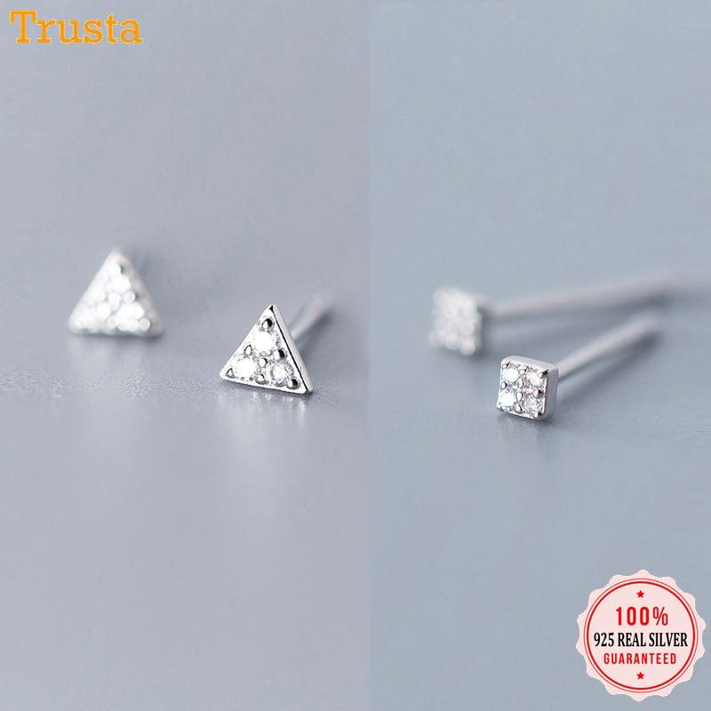 Trusta 925 Sterling Silver Classic Clear Cubic Zircon Triangle Square Stud Earrings For Women Sterling Silver Jewelry DA419