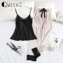 2019 Pajamas for Women Sexy Lace Silk Satin Sleepwear Tops+pants Night Suits V neck Pijama Mujer Loose Lounge Home Clothes