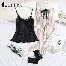 2019 piżama dla kobiet seksowna koronkowa, jedwabna satynowa bielizna nocna topy + spodnie nocne garnitury V neck Pijama Mujer Loose Lounge ubrania domowe