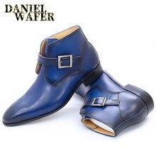 Luxus Stiefeletten Mode Blauen Handgemachten Echten Leder Stiefel Spitz Schnalle Hochzeit Büro Kleid Schuhe Männer Stiefel