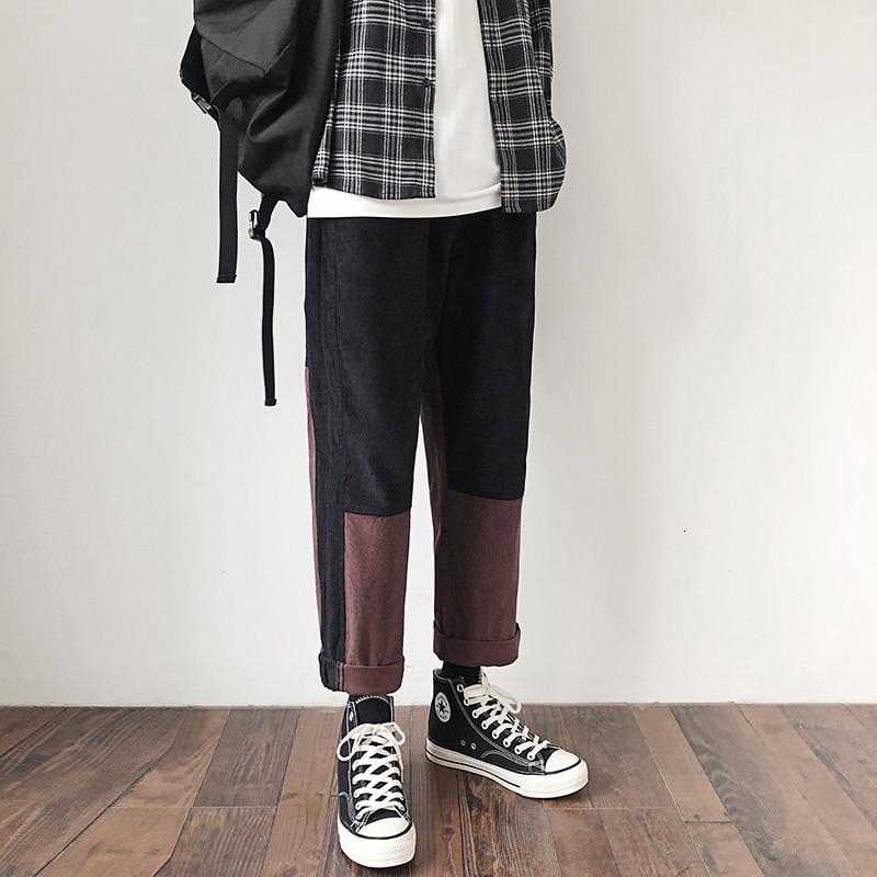 Men's Corduroy Fabric Casual Pants Splicing Color Tide Loose Trousers Active Elastic Pink/black Color Joggers Sweatpants M-5XL
