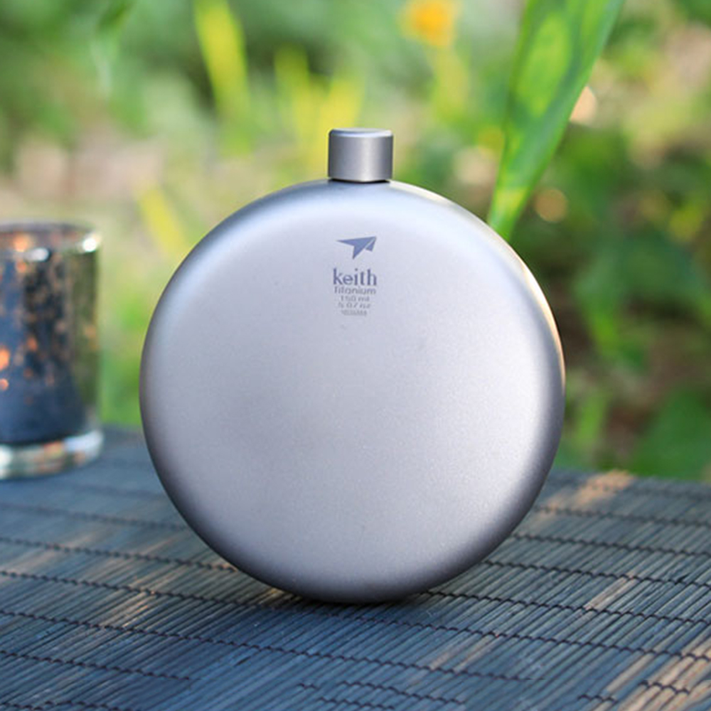 Titanium Ti9302 Round 150ML Portable Pocket Hip Flask with Funnel for outdoor camping hiking climbing