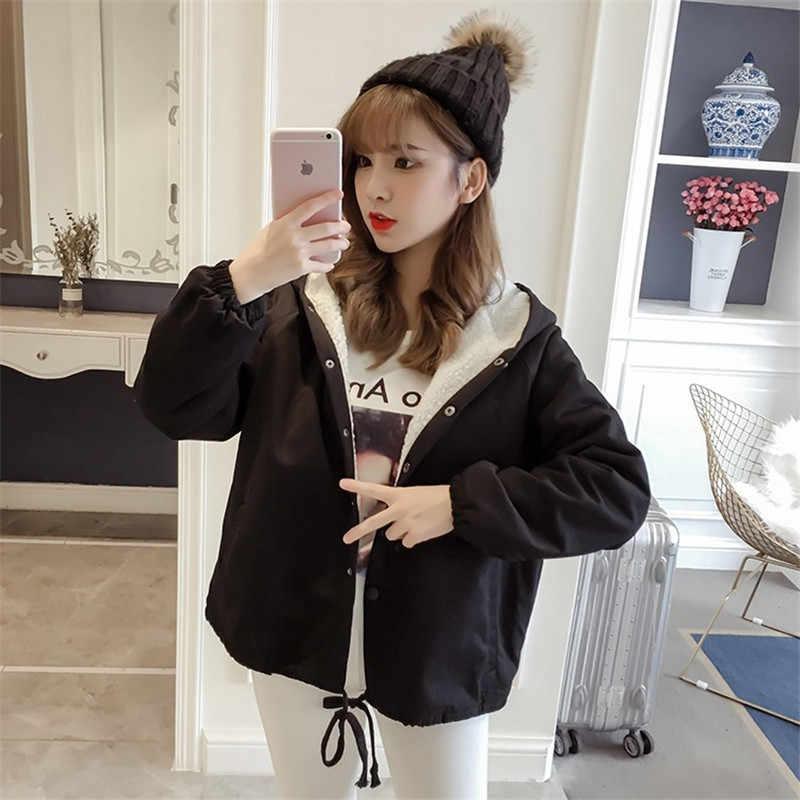스웨터 코트 이른 겨울 코트 여성 2019 새로운 조수 그물 붉은 양가죽 늦은 가을 짧은 농화 한국어 버전