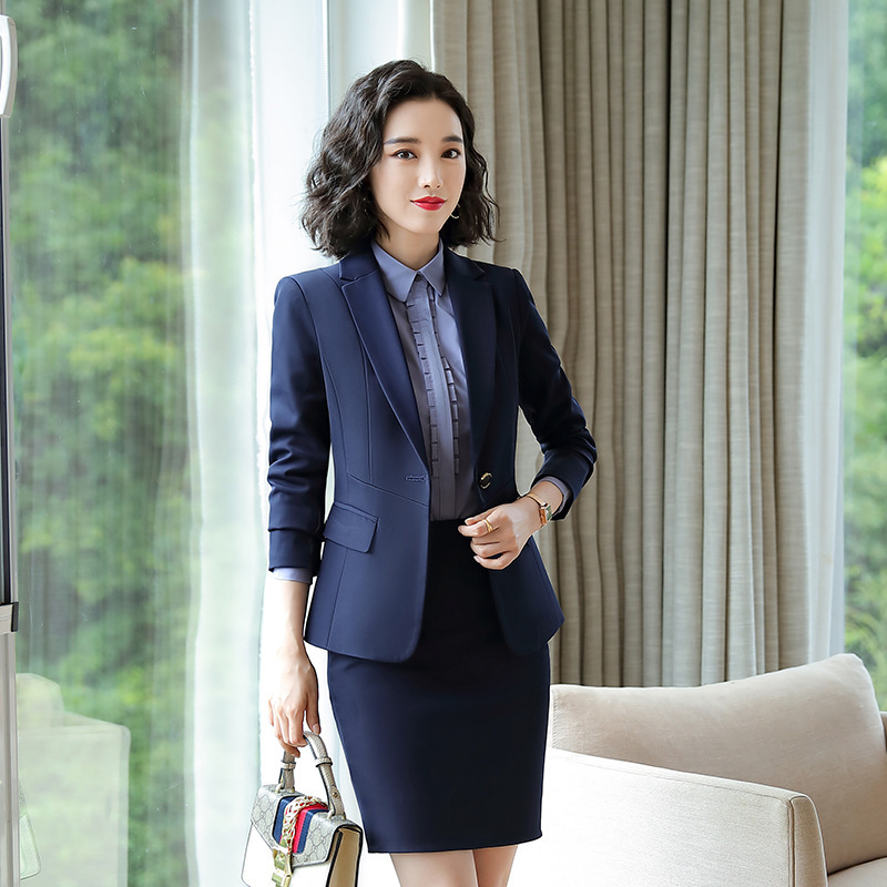 Professional women's suit 2019 autumn new temperament solid color Slim large size blazer Casual pants suit Office suit two-piece