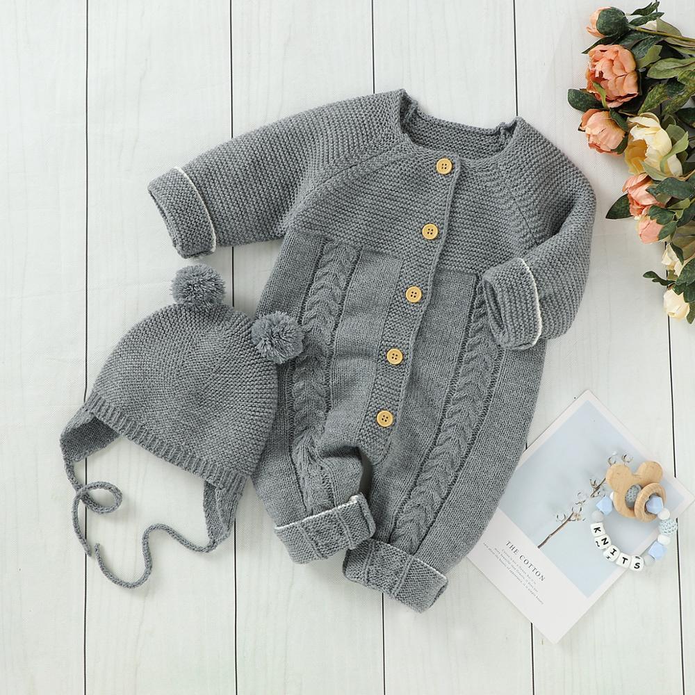 Детские комбинезоны с длинным рукавом, вязаные детские комбинезоны унисекс, одежда, Осенние Комбинезоны для маленьких мальчиков, цельная детская одежда|Ромперы| | АлиЭкспресс