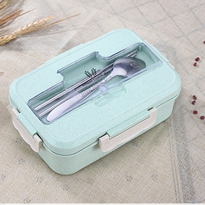 Leakproof Lunch Box Separate Compartments Heated Lunch Box Picnic Food Container with Spoons School Office Bento Box