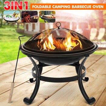 Taşınabilir odun yanan ateş çukurları kavisli ayak mangal dekorasyon köy havuz 100% demir siyah avlu Metal kase şekline mangal