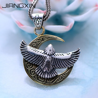 925 Sterling Silver Crescent Moon Eagle Big Pendant 3.1*2.4cm Retro Thailand Vintage Silver Rock Jewelry Free Adjustable Rope