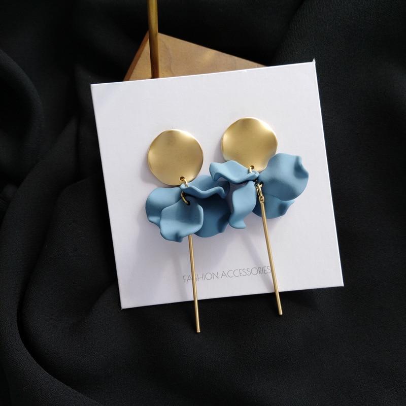 S925 висячие серьги с иглой, круглые металлические серьги с золотым покрытием, висячие серьги с синими лепестками, лидер продаж, серьги с цветком для женщин, ювелирные изделия