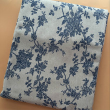 Beige DIY Sewing Quilting Cotton And Linen Fabric Blue Floral Printed For Home Textile Decorate Cushioncover