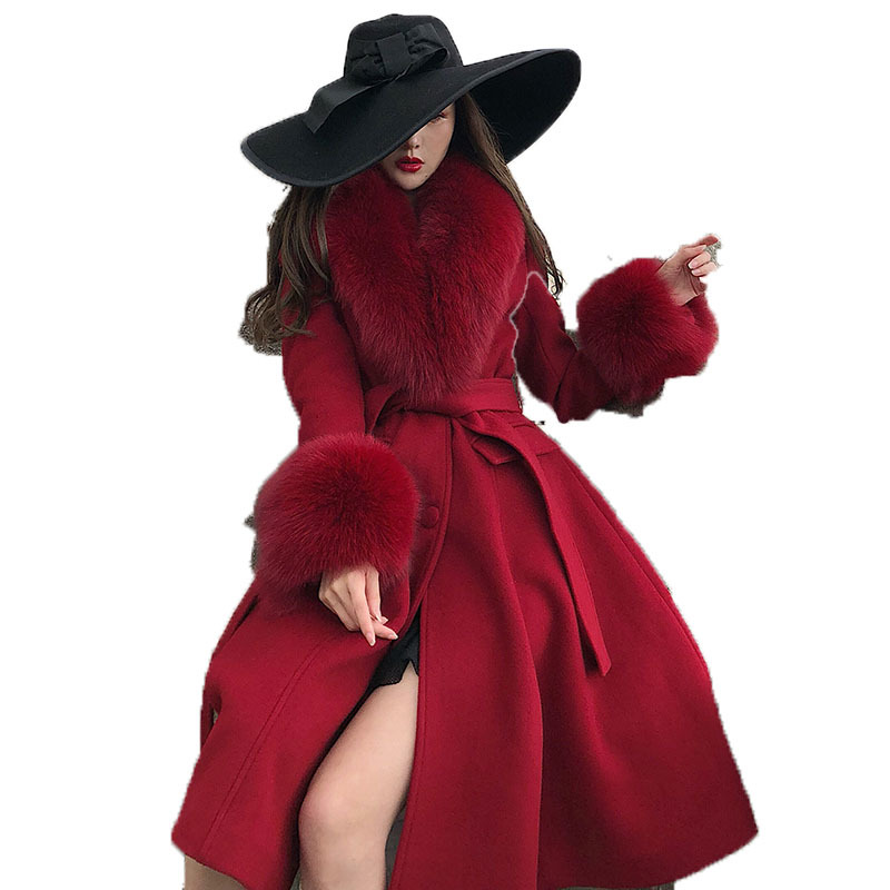 Women's Fur Coat Autumn Winter Jacket Women Korean Vintage Fox Fur Collar Wool Coat Female Jacket Slim Long Coats ZT1705