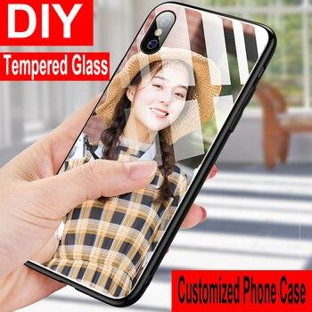 Перейти на Алиэкспресс и купить DIY чехол из закаленного стекла для телефона Huawei P8 P9 P10 P20 P30 Lite Pro 2017 чехол на заказ для Huawei Mate 30 20 10 Lite Pro 9 20X 5G