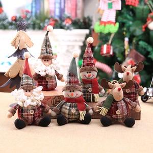 Домашний декор, DIY Дом, Рождественская мультяшная кукла, кукла в клетку со снежинками, украшения на рождественскую елку, рождественский пода...