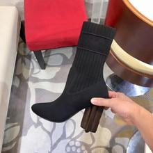 Mode Stretch Sokken Laarzen Vrouwen Hoge Hakken Schoenen Gebreide Sokken Laarzen Skinny Vrouwen Mesh Stof Herfst En Winter Laarzen