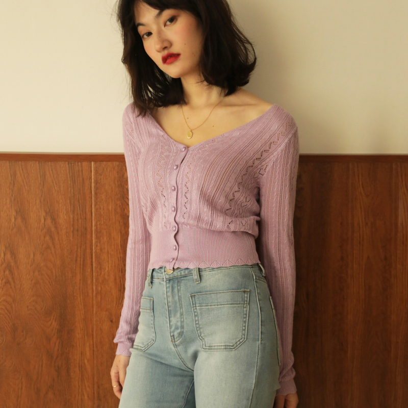 Women V Neck Pointelle Knit Cardigan With Width Trimming Knit Top