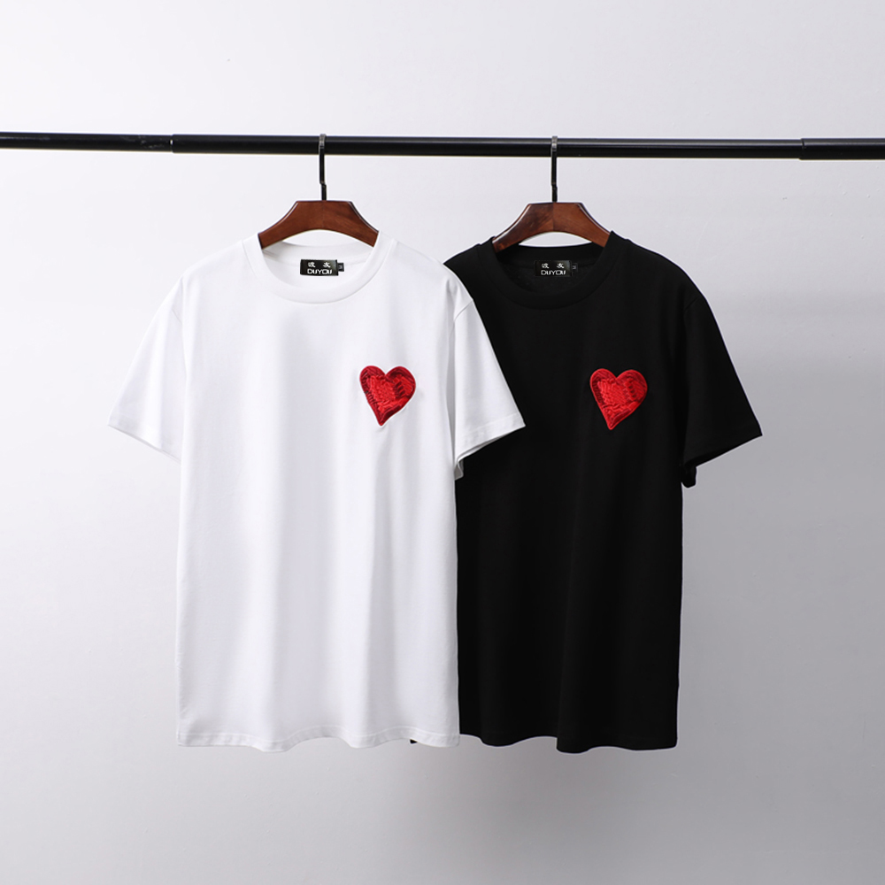 DUYOU Summer Men Casual High Quality T-shirt Breathable Cotton Tshirt Embroidery Heart Tshirts Streetwear Hip Hop Casual Tops
