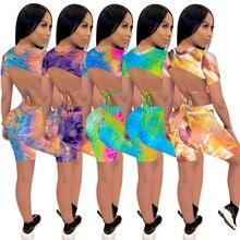 Tie Dye Print Women 2 Pieces Set Tracksuit Lace Up Backless Short Sleeve Crop
