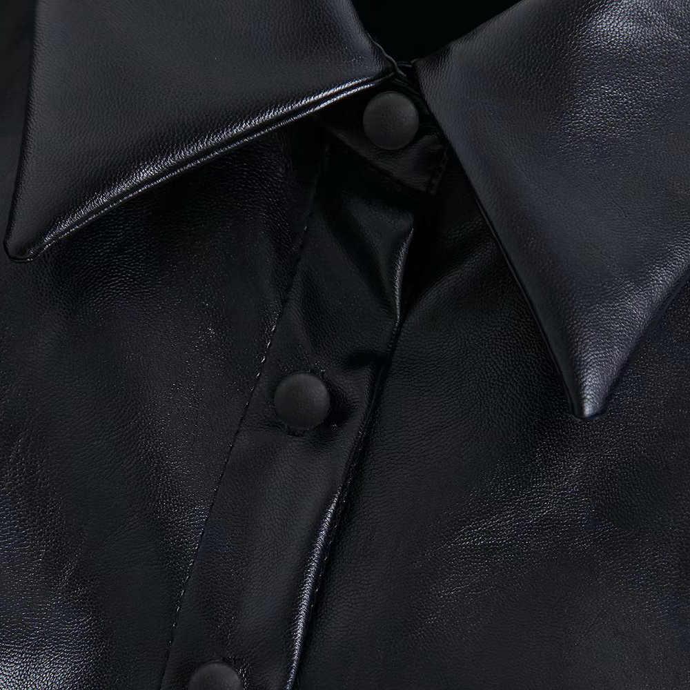 Винтажные стильные офисные женские кожаные водолазки из искусственной кожи женские 2019 модные элегантные рубашки с отворотным воротником и рукавами-фонариками Blusas шикарные топы