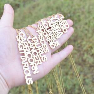 Todorova Zodiac Letter Necklace Scorpio Capricorn Pisces Aries Taurus Gemini Cancer Stainless Steel 12 Constellation Collar