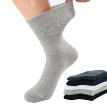 6 זוגות אביב Mens כותנה גרביים באיכות גבוהה הרבה Loose מוצק גרב 100 נוח לנשימה גבר meia השומר שחור לבן אפור