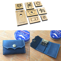 4pcs Leather Die Cutter DIY Wood Dies for Leather Craft Key Bag Wallet Card Holder Die Cutter Mould Hand Punch Tool